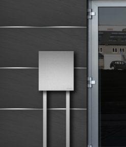 Freistehdender Briefkasten in Edelstahl - Detailansicht